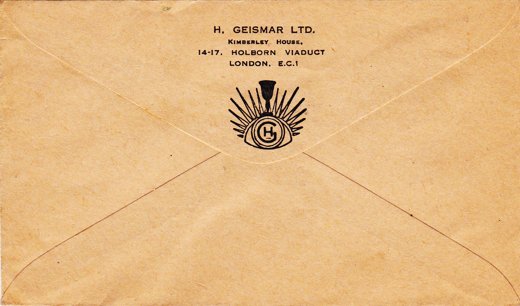 Hans Geismar Ltd envelope with company address and logo