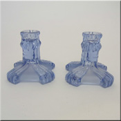 Pair of Stölzle art deco part frosted blue glass candlesticks. Pattern number 19743.