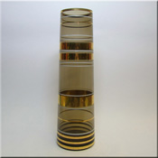 Czech purple glass tapering cyclindrical vase, by Borske Sklo.