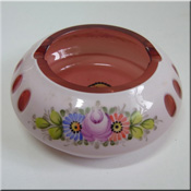 Crystalex Czech pink glass bowl/ashtray, 45mm tall by 100mm in diameter, with white overlay, cut + painted, labelled.