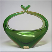 Czech green + amber glass sculpture vase, made by Skrdlovice glassworks, labelled, probably designed by Milena Velísková, 180mm tall.