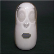 Wedgwood white + brown speckled glass owl paperweight, acid stamp to base.