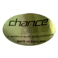 Chance Glass English glass foil label.