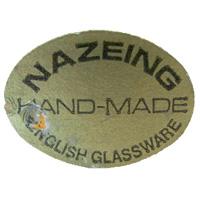Nazeing British glass foil label, c 1970's.