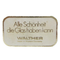 Walther German glass paper label.