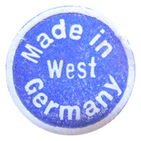 "Generic ""Made in West Germany"" paper export label, found on Friedrich vase."