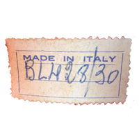 Made in Italy glass paper label, found on Barovier & Toso lamp.