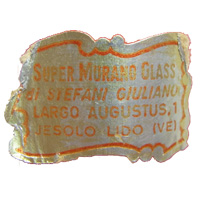 Murano glass foil label, probably an exporter or retailer, found on Carlo Moretti vase.