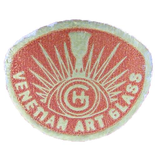 Red foil Hans Geismar 'HG Swedish Art Glass' import label