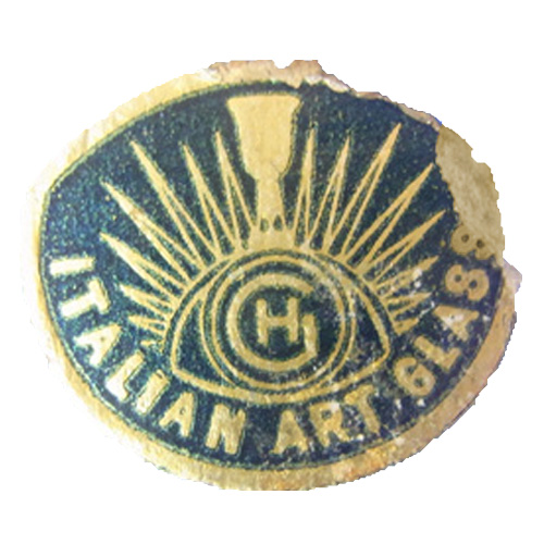 Blue foil Hans Geismar 'HG Swedish Art Glass' import label