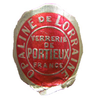 Portieux French glass foil label for their 'Opaline de Lorraine' range.