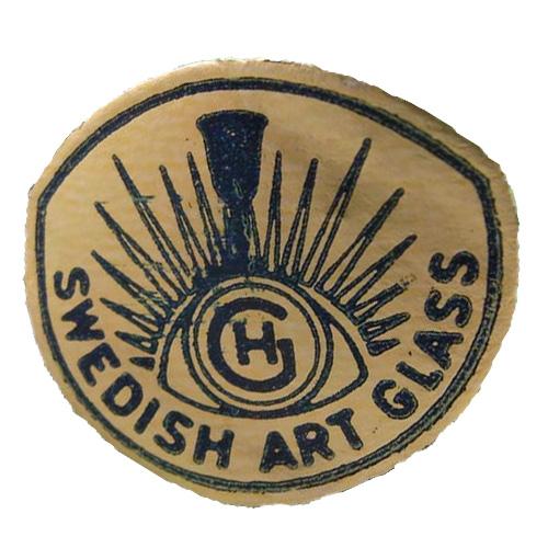 Gold foil Hans Geismar 'HG Swedish Art Glass' import label