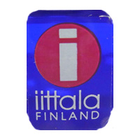 Iittala Finnish glass clear plastic label - white text.