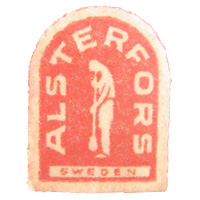 Alsterfors, Swedish glass paper label.