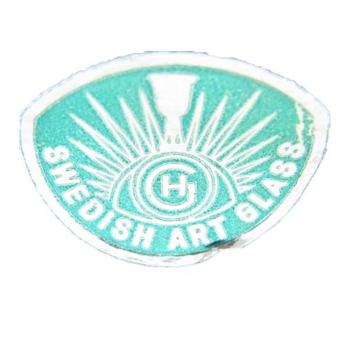 Green foil Hans Geismar 'HG Swedish Art Glass' import label