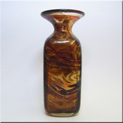 Mdina Maltese brown speckled glass 'Tortoiseshell' pattern vase, signed to base.