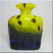 Mtarfa Maltese red, black + gold leaf glass vase, signed + labelled.