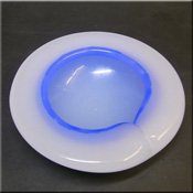 Murano Glass bowl in blue + white 'Alabastro' glass, possibly by Archimede Seguso