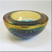 Murano orange + uranium green glass bowl with dimpled effect, probably by Galliano Ferro