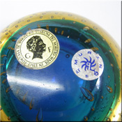 Galliano Ferro blue + amber glass bowl with bullicante effect, labelled.