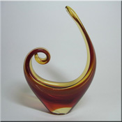 Murano glass red + amber sculpture.