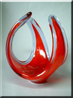 British red + blue glass sculpture, by Davidson.