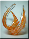 British speckled orange + clear glass sculpture, by Davidson.