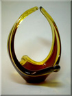 British red + amber glass sculpture, by Davidson.