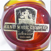 British red + amber glass sculpture, by Davidson, labelled.