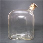 Alsterfors Swedish clear glass decanter, labelled.
