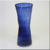 Alsterfors Swedish blue glass textured vase.