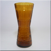 Alsterfors Swedish amber glass textured vase.