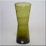 "Alsterfors Swedish olive green glass textured vase with generic ""Made in Sweden"" label."