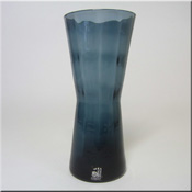 Alsterfors Swedish blue glass textured vase, labelled.