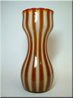 Elme Glasbruk orange + yellow Swedish glass striped vase with George Hardy import label.