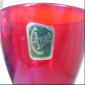 Elme Glasbruk red Swedish glass vase, labelled.