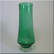 Riihimäen Lasi Oy / Riihimaki green glass vase, design number 1374, 250mm tall.