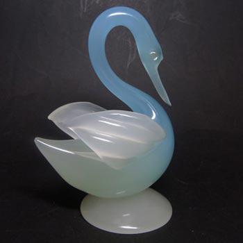 Archimede Seguso Alabastro Murano Glass Swan Sculpture