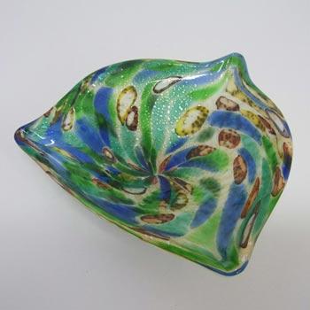 Vetro Artistico Veneziano Murano Glass Silver Leaf Bowl