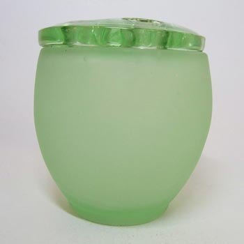 Bagley #3170 Art Deco Frosted Green Glass 'Somerset' Posy Vase