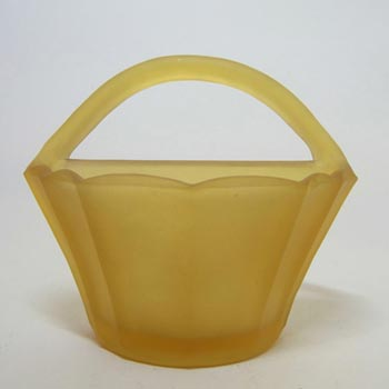 Bagley #3193 Art Deco Frosted Amber Glass Wall Vase