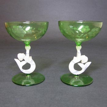 Pair of Bimini Glass Nude Lady/Mermaid Spirit Glasses