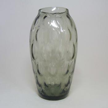 Borske Sklo 1950's Smoky Glass Optical 'Olives' Vase