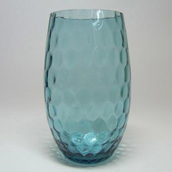 Borske Sklo 1950's Blue Glass Optical Ball Pattern Vase