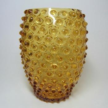 Borske Sklo 1950's Amber Glass Bohemian 'Bobble' Vase