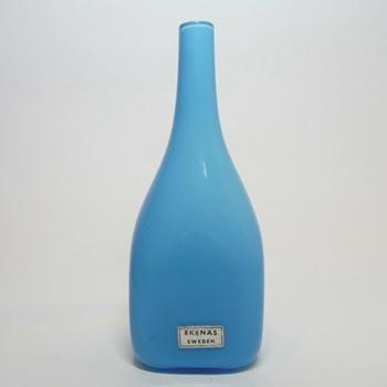 Ekenas Glasbruk Swedish Blue Cased Glass Vase - Labelled