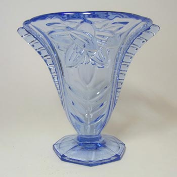 Czech? Art Deco 1930's Blue Pressed Glass Vase