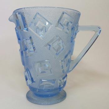 Libochovice Czech Art Deco 1930s Blue Glass Jug/Pitcher