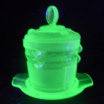 Stölzle #19418 Czech Art Deco 1930's Uranium Green Glass Jar