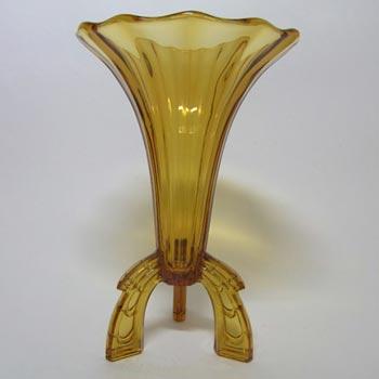 Stunning 1930's Czech Art Deco Amber Glass Rocket Vase